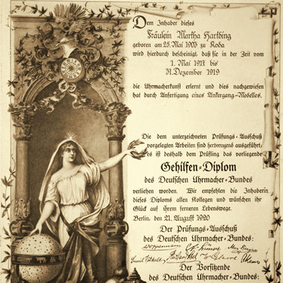 Gesellenbrief Martha Lang